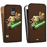 Samsung Galaxy S5 Neo Tasche Hülle Flip Case Star Wars Merchandise Fanartikel Yoda Lichtschwert