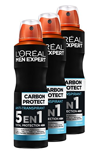 L'Oréal Men Expert Carbon Protect Ice Fresh 5-en-1 Spray Homme Lot de 3
