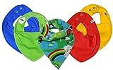 ★ SUPER 5er KOMBI-SET ★ mit PIPPI JNY Baby HALSTÜCHER Dreieckstücher 5 Stück ★ Organic Baumwolle ~ (Summer-Regenbogen)