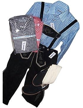 Trachten-Set komplett für Herren 5-teilig Echte Lederhose (Kniebund, schwarz mit uriger Stickerei), kariertes...
