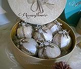 Palline di Natale decorate, regalo da collezione, decorazione albero di Natale, scatola shabby chic, sei palline con scatola