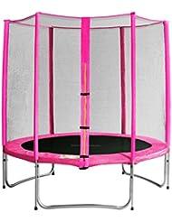SixBros. Sixjump 1,85 M Trampoline de jardin rose - Filet de sécurité - TP185/1568