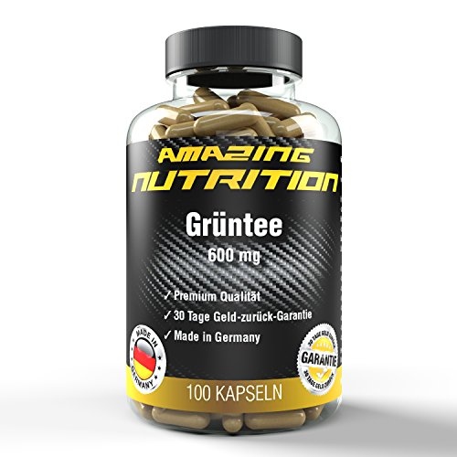 Grüntee - 600mg pro Kapsel - Appetithemmer - Erhöht Den Stoffwechsel - Ideal für die Diät - 100 Kaspeln - Qualität made in Germany