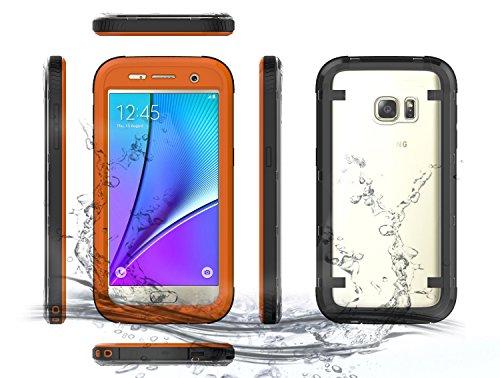 Samsung Galaxy S7 Waserdicht Hülle [Happon] Ultra Slim [IP68 Zertifiziert Wasserdicht] Stoßfest Stubdichtes Snowproof Handyhülle Kratzfestes Gehäuse Outdoor Handy Schutzhülle Unterwasser Cover Tasche Case für Samsung Galaxy S7 (Orange)