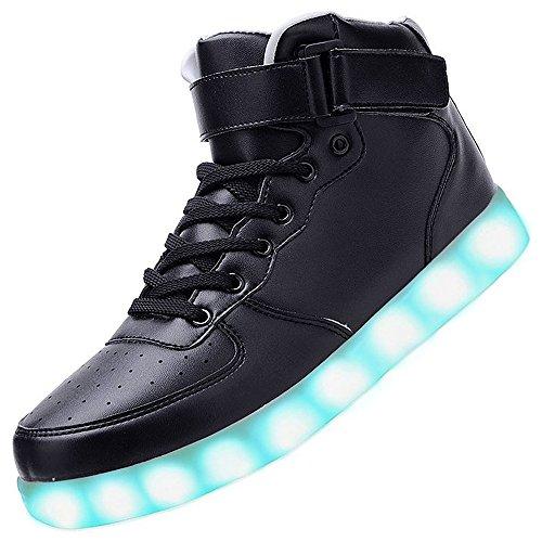 3STEAM Unisex High Top 7 Farben Blitzen Damen Turnschuhe Hohe LED Licht Farbwechsel LED Licht Schuhe (37, schwarz) (Toe-high-top-schuh)