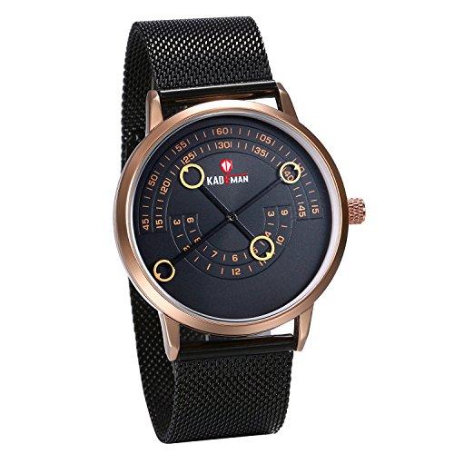 JewelryWe Herren Retro Armbanduhr Analog Quarz 30M Wasserdichte einzigartige Uhr mit schwarz Edelstahl Milanaise Mesh Armband