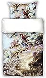 Beties parure de lit réversible de style japonais fleurs de cerisier sakura de 135 x 200 cm + 80 x 80 cm impression numérique en satin de coton mako de coton