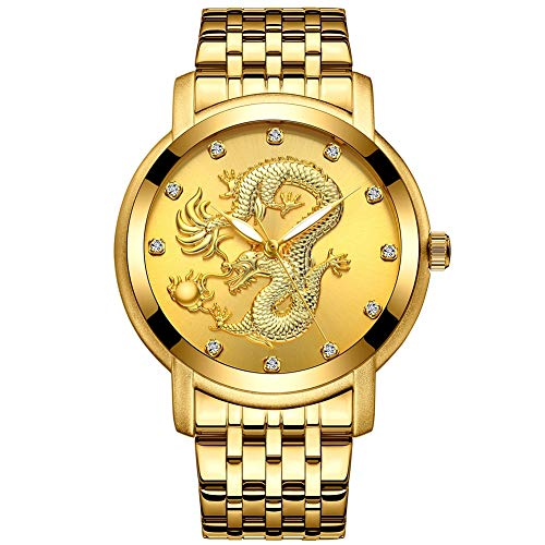 QRMH Gold Uhren Männer Edelstahl Strap Drache geformt Dial Men ' S Fashion Business Casual Uhren (Drachen Kostüme Cool)