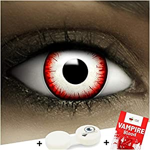 Farbige rot weiß schwarze Kontaktlinsen Undead Zombie + Kunstblut Kapseln + Behälter von FXCONTACTS®, weich, ohne Stärke als 2er Pack – perfekt zu Halloween, Karneval, Fasching oder Fasnacht
