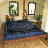 Guru-Shop Wandbehang, Wandtuch, Mandala, Tagesdecke Keltisch - Design 24, Blau, Baumwolle, 220x190 cm, Bettüberwurf, Sofa Überwurf