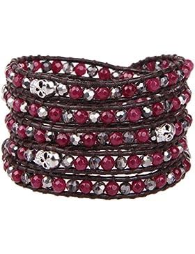 KELITCH Garnet Crystal Skll Beaded 5 Wrap Bracelet Hand Woven New Fashion Jewelry
