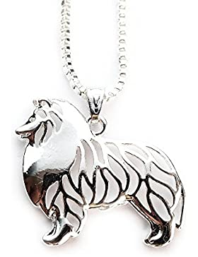 Miss–E–Jewels Versilbert Rough Collie Hund Anhänger Halskette 45,7cm in Satin Tasche