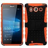 SAMRICK 0000441171 Anti Rutsch Schock stoßfeste Schutzhülle mit Anzeigen Ständer für Microsoft Lumia 950 Orange