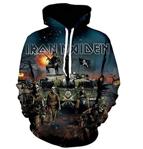 Unbekannt Hoodies 3D Iron Maiden Drucke Atmungsaktiv Gemustert Sweatshirts für Herren Damen,XXXL -