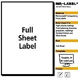 Mr-LABEL® Klar Vollblatt Abnehmbare Klebeetiketten -transparent reißfest Wasserdichte Aufkleber für die Küche | Herstellung und Lagerung-Laser Print Only (25 Blatt)