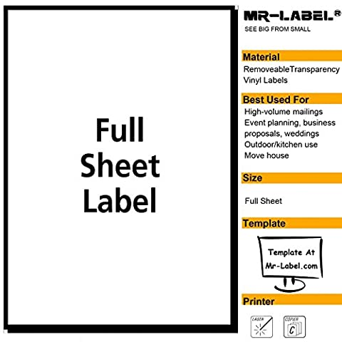 Mr-Label® Clear Full-Sheet Removable Adhesive Labels –Transparent Tear-Resistant Waterproof Stickers