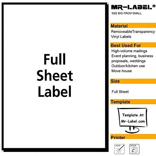 Mr-Label® trasparente completa fogli rimovibile adesivo usato  Spedito ovunque in Italia