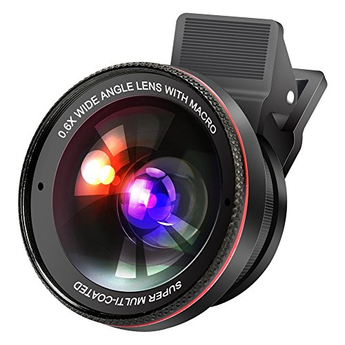 Cakii 2in 1HD Handy Kamera Objektiv-Set für iPhone, 0,6x Super Weitwinkel-Objektiv, 15x Makro, für iPhone 7/6S/6S Plus/6/5,, Samsung, HTC und andere Smartphones, Schwarz