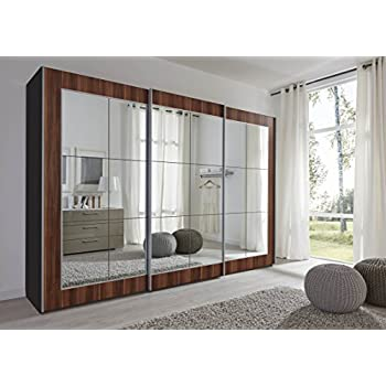 Le Schlafzimmer schlafzimmer lattice walnut sliding door wardrobe with mirror