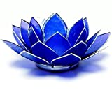 somethingdifferent Lotus Chakra Kerzenhalter Capiz Shell Indigo Silber Trim