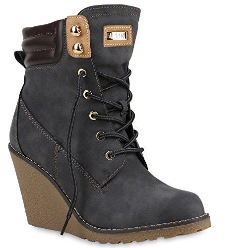 Keilstiefeletten Damen Metallic Stiefeletten Profilsohle Schuhe 125196 Grau 37 Flandell
