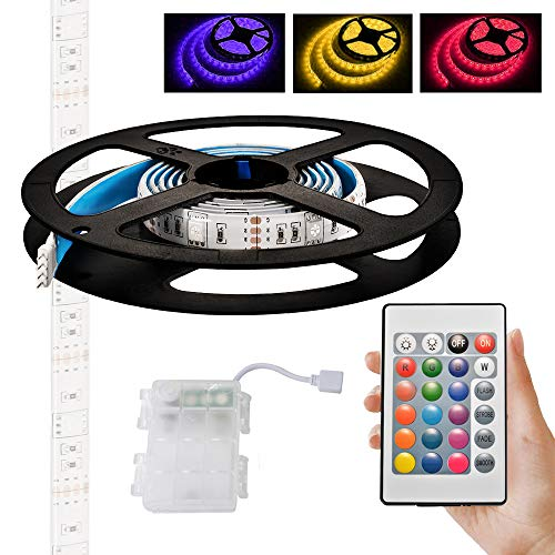 Kreema RGB LED 5050 Streifen Licht 3m wasserdichte batteriebetriebene Box mit 24 Tasten IR Controller für Indoor Outdoor Beleuchtung Dekoration - Streifen-licht-box