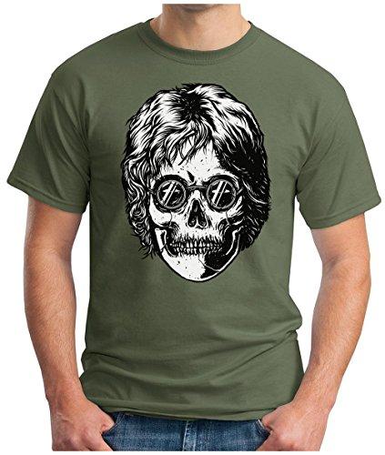 OM3 - LEGEND-SKULL - T-Shirt PEACE Schädel GLASSES UK Great Britain POP MUSIC 60's KULT GEEK, S - 5XL Oliv