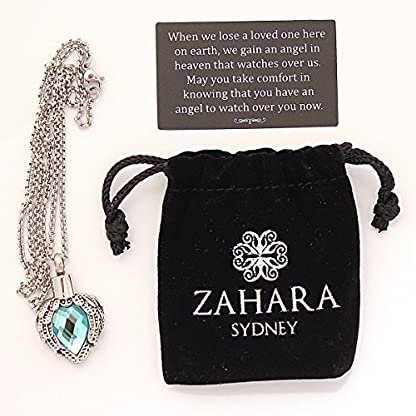 Zahara Pet Memorial Urn Necklace (20 Inches) with Velvet Pouch & Funnel | Angel Heart Aquamarine Pendant + Chain 5