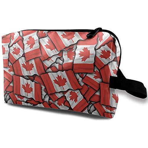 Reise-Kosmetiktasche Tragbare Handtasche Kanadische Flagge Kulturbeutel Kleine Make-up-Taschen Fall Veranstalter -