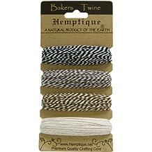 Hemptique Bakers Twine - Hilo de algodón (4 unidades de 9,1 m cada una, 1 mm de grosor), color blanco, blanco y negro, blanco y gris, blanco y marrón