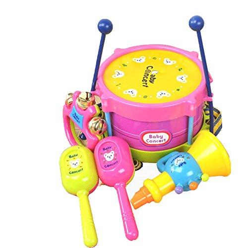 LINAG Kinder Trommel Schlagzeug Schlagwerk Musikinstrumente Mini Musik Spielzeug Früherziehung Spiele Emulation Geschenk Baby Kleinkinder Drumsticks Sätze Rhythmusinstrumente Handschlag Lautsprecher