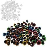 MagiDeal 100 Piezas Ojos Plástico de Color Mezclado Seguridad con Arandelas para DIY Muñeca - 8mm