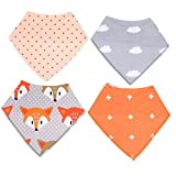 #8: Warmingecom 4pcs Baby Bandana Drool Triangle Bibs for Drooling and Teething(7)