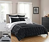 Chic Home 7 Piece Assen Ruffled pinch pleat border with piping detail, REVERSIBLE conteporary printed pattern Twin Bed In a Bag Comforter Set Black
