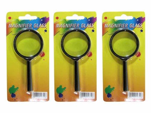 größerungsglas, Kunststoffrahmen, 45mm im Ø , Griff 60mm lang, Farbe schwarz, echtes Glas (Lupe Für Kinder)