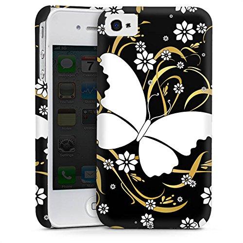Apple iPhone 4 Housse Étui Silicone Coque Protection Papillon Fleur Fleur Cas Premium mat
