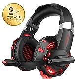 Xbox One Headset für PS4, Willnorn K2 Gaming Headset mit Mikrofon Geräuschunterdrückung Over-Ear Kopfhörer für PC, Controller, Laptop, LED-Licht, Stereo-Sound mit Bass rot