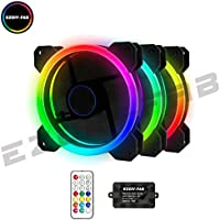 EASYDIY RGB LED Gehäuselüfter 120mm High Airflow Lüfter 3er-Pack mit Controller und Hub