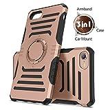 iPhone 7 6s 6 Hülle , Humixx Magnetisch Hülle /Metallplatte/Armbinde3 in 1 Multifunktionale Laufen Armbinde Schwerlast Hülle mit Magnetisch Mount Unterstützt für iPhone 6/6s/7--Rose Gold