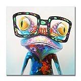 WAHu Color Grueso Rana Pintura Al óLeo Animal Dibujos Animados Moderno Pintura Decorativa Personalizada Pintura Al óLeo Pintada A Mano Pura,40 * 40CM