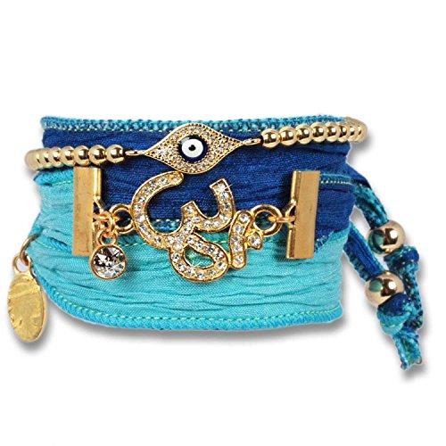 """'""""Blue Golden Om-Bracciale da Donna Set pura sari di seta con Evil Eye Bracciale di protezione, il potente protezione simbolo, il Negative Power abwehren SOLL. OM è sinonimo di conoscenze spirituale."""