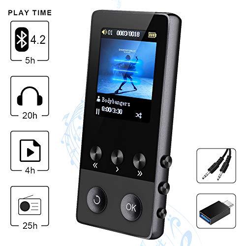 """Bluetooth MP3 Player, 8GB Sport Musik MP4 Player mit FM Radio Lautsprecher Diktiergerät EBook Bilder Video Pedometer Schrittzähler, 1.8"""" TFT Bildschirm, Unterstützt bis zu 128 GB TF Karte"""