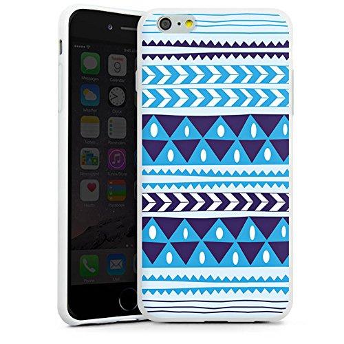 Apple iPhone X Silikon Hülle Case Schutzhülle Dreiecke Blau Muster Silikon Case weiß