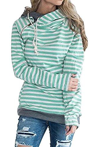 Autunno Inverno Donna Cappuccio Manica Lunga Splicing Colore Sweatshirt Striscia Felpe Con Casual Obliquo Cerniera Hoodies Verde