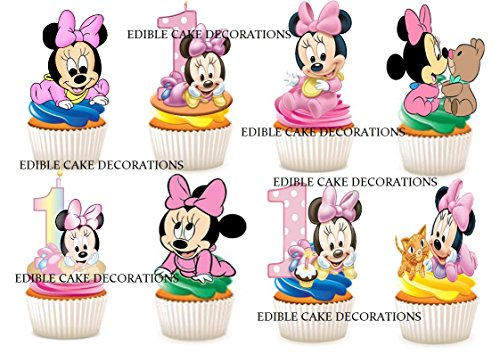 30 x 1. Geburtstag Mädchen Minnie Mouse Party Stand up Essbare Papier Cupcake Topper Kuchen Dekorationen (Maus Cupcake Minnie Dekorationen)