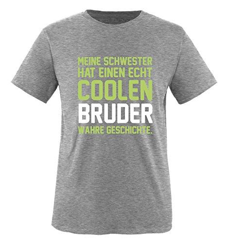 Comedy Shirts - Meine Schwester hat einen echt coolen Bruder wahre Geschichte. - Jungen T-Shirt - Grau / Hellgrün-Weiss Gr. 134/146 (Toms T-shirt Freunde)