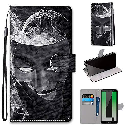 Miagon Flip PU Leder Schutzhülle für Huawei Mate 10 Lite,Bunt Muster Hülle Brieftasche Case Cover Ständer mit Kartenfächer Trageschlaufe,Maske -