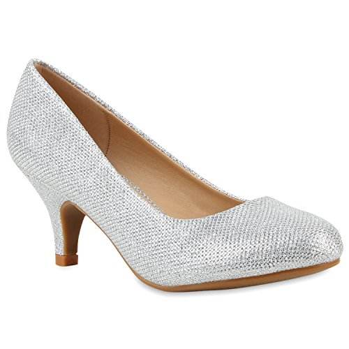Klassische Damen Pumps Strass Glitzer Party Metallic Stilettos Absatz Abend Lack Schuhe 113906 Silber Silber 36 Flandell