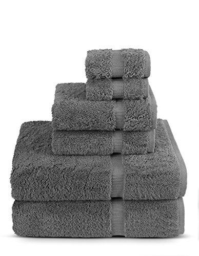 6Stück Türkisch Luxus Türkische Baumwolle Handtuch-Set, umweltfreundlich, 2Badetücher, 2Handtücher, 2Kleider Waschen von turkuoise Türkisches Handtuch grau -