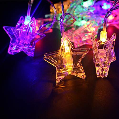 Catene luminose ashop foto clip stringa luci usb, luce a forma di stella clip stringa batteria, 20 led per decorazioni feste alberi di natale, san valentino